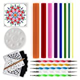 Mandala Dotting Tools for Painting Rocks - Dot Painting Tools, Stencils, White Pencil, Paint Tray, Pattern (Color: Solid)