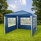 TecTake Gazebo for Garden Party Camping Festival Beer Tent Marquee 3 x 3m blue