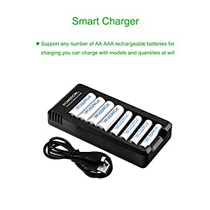 POWEROWL 8 Bay Charger for Ni-MH Ni-CD Rechargeable Batteries AA AAA Batteries Charger with USB Port(No Adapter) (Tamaño: 8Bay aa aaa charger)