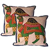 Throw Pillow Cover Mirror Camel Patchwork Set of 2 Handmade Cotton Cushion Cases from Indiaby DakshCraft