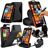 10-IN-1-Monster Zubeh�r Pack Nokia Lumia 625 Premium PU 3 Credit / Debit Card Slots Leder flip Case Skin Cover + LCD Screen Protector Guard + Micro-USB-CE-gepr�ft 3-poliger Netzstecker Ladeger�t + Micro USB Desktop Charging Dock St�nder Ladeger�t + S-Line Wave Gel + 360 sich drehende Auto Halter + 3,5 MM Ohrh�rer Ohrh�rer + Mikro USB-Flat Kabel + Bullet Car Charger + gro�em Touchscreen Stylus Pen - Verschiedene Farben ( schwarz ) Von Spyrox