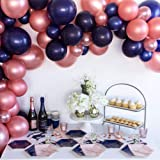 100Pcs Balloon Garland & Arch Kit for Bridal Shower-100Pcs Rose Gold Navy Blue Balloons, 16 Feets Arch Balloon Strip Tape, Glue Dots for Bacholerette Party Wedding Baby Shower Birthday Party Backdrop (Color: Rose Gold, Dark Blue)