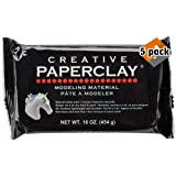 Creative Paperclay for Modeling Compound, 16-Ounce, White - 5 Pack (Color: 5 Pack (White))