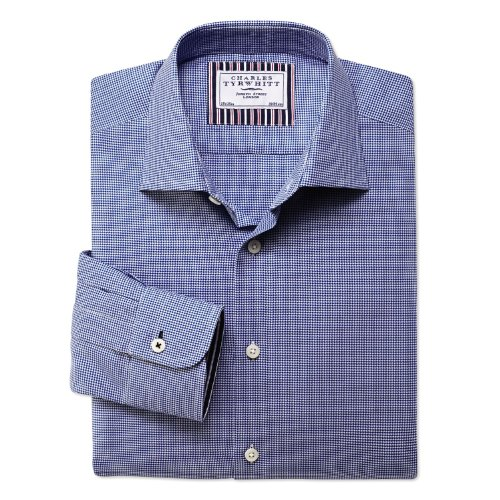 Charles Tyrwhitt Blue puppytooth business casual classic fit shirt (16 - 34)