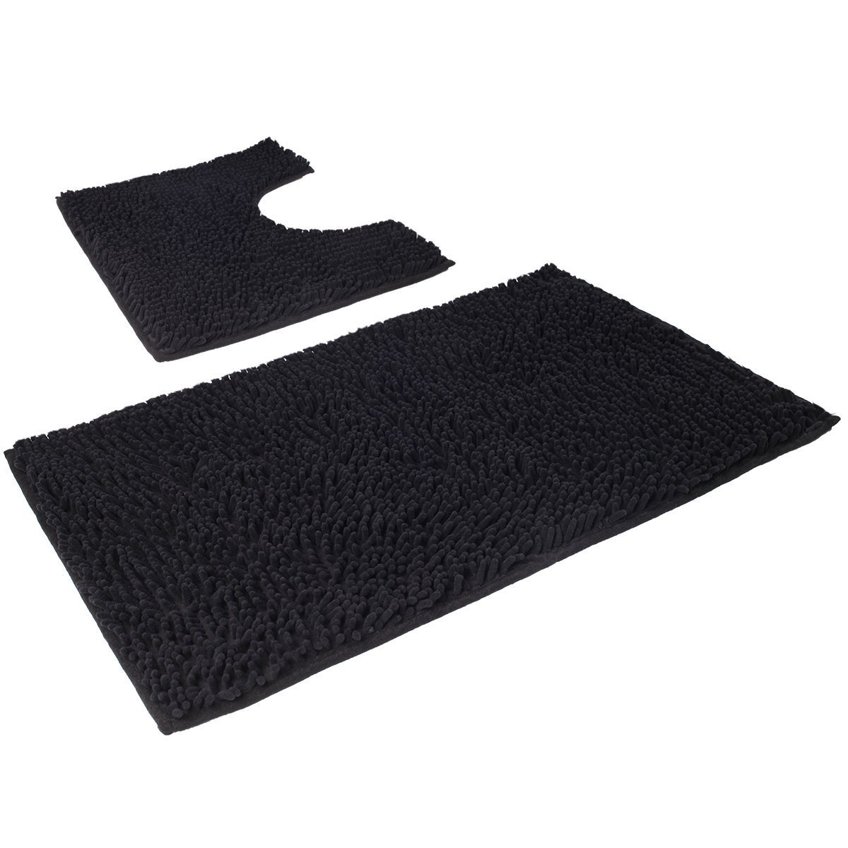VDOMUS Microfiber Bathroom Contour Rugs Combo, Set of 2 Soft Shaggy Non Slip Bath Shower Mat and U-shaped Toilet Floor Rug (Black)