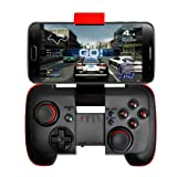 Wireless bluetooth Controller Gamepad Joytick Gaming for Iphone, Android Cell Phone, PC Tablet, Samsung Gear VR, Game Boy Emulator (Red) (Color: Black)