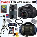 Canon EOS Rebel T3i 18 MP CMOS Digital SLR Camera with EF-S 18-55mm f/3.5-5.6 IS II Zoom Lens & EF 75-300mm f/4-5.6 III Telephoto Zoom Lens + 16GB Deluxe Accessory Kit