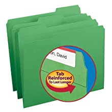 Smead 1/3-Cut File Folders, Heavy Duty Reinforced Tab, Letter Size, Green, 100 Per Box (12134)