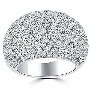 5.25 ct Ladies Round Cut Diamond Anniversary Ring in 14 kt White Gold In Size 5