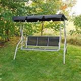 3 Seater Garden Textoline Swing Seat / Hammock In Black By Kingfisher
