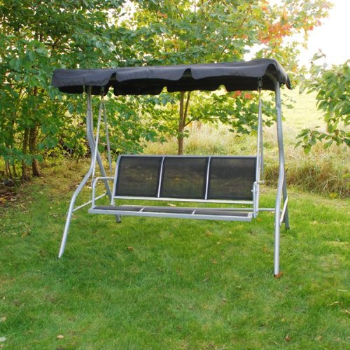 3 Seater Garden Textoline Swing Seat / Hammock In Black By Kingfisher