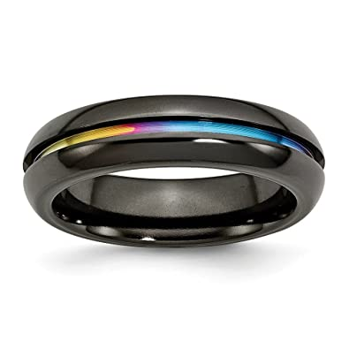 Men's Titanium Black Multi-colored Anodized Polished Wedding Band Ring