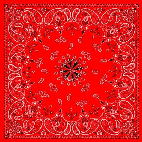 Red Paisley 100% Cotton Bandanna