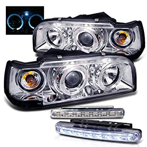 1993-1997 VOLVO 850 HALO PROJECTOR HEAD LIGHTS HEADLIGHTS + LED FOG BUMPER LAMPS