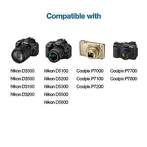 Miady EN-EL14 EN-EN14A Replacement Battery and Dual LCD Charger Set,Compatible with Nikon D5600, D3500, D3300, D5100, Z50 and More, 2-Pack 1500mAh 11.1Wh