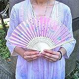 アジアン雑貨 バリ雑貨 木製 扇子 メッシュ 花柄 透かし模様 薄ピンク系