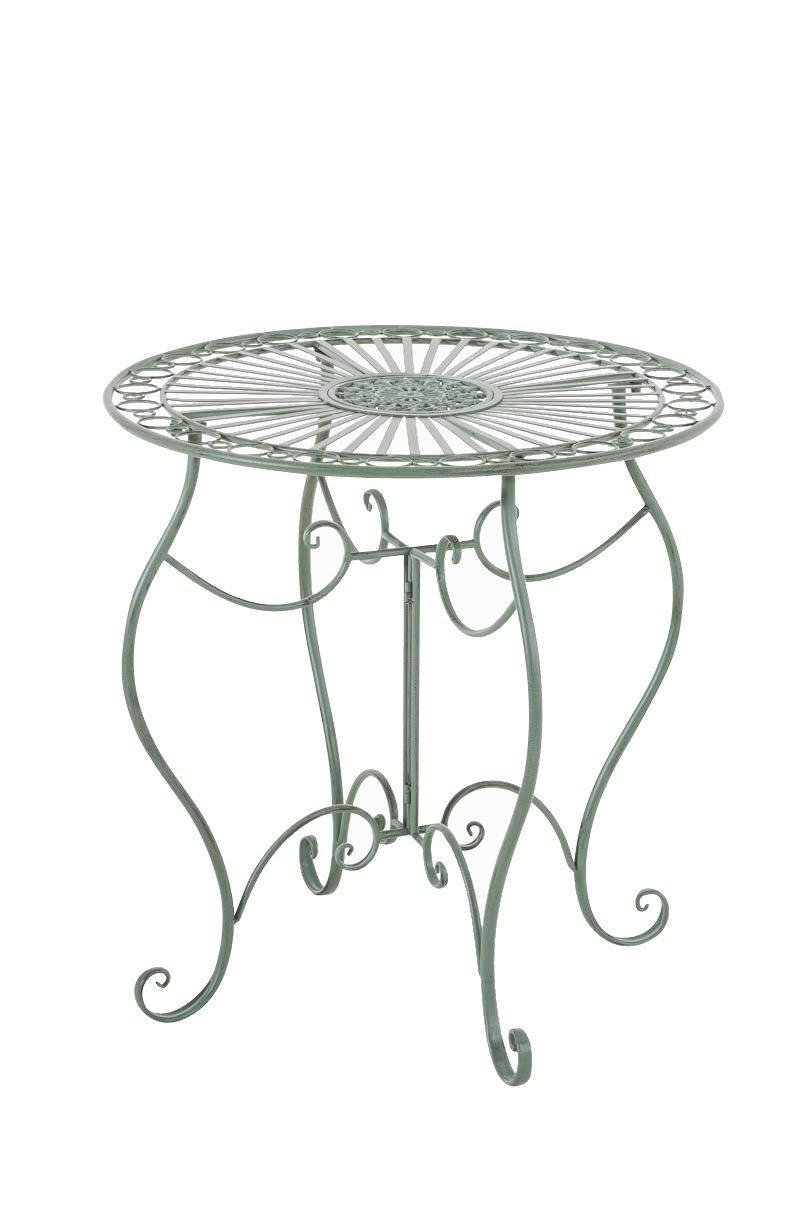 CLP handgefertigter runder Eisentisch INDRA in nostalgischem Design, Durchmesser 70 cm (aus bis zu 6 Farben wählen) antik grün