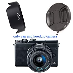 Fire-Rock 49mm Snap-On Front Lens Cap and Hood fit for Canon M50 M100 M6 with EF-M 15-45mm is STM/EF-S 35mm f/2.8 is STM/EF 50mm f/1.8 STM Lens Replace Canon EW-53 Hood(1 Cap+1 Hood)