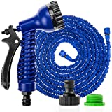 Savisto 75ft Long Expandable Garden Hose With Spray Gun - Blue [Also available in 100ft]