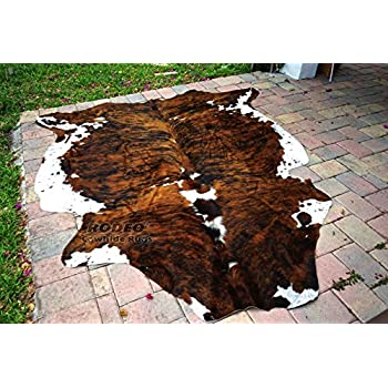 Classic Brown Brindle Rodeo Cowhide Rug XXL 6x8 Ft