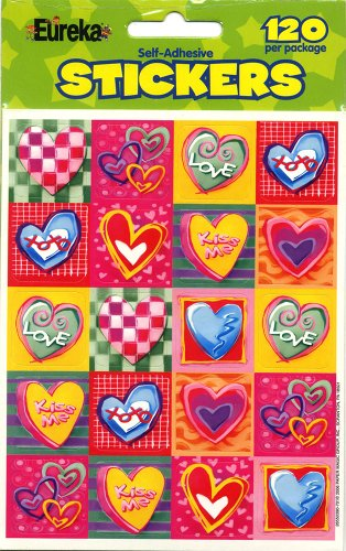 Eureka Valentine's Day Stickers, 120 Per Pack