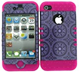 BUMPER CASE FOR APPLE IPHONE 4G 4 G SOFT PINK SKIN HARD TRANS PURPLE CIRCULAR PATTERNS COVER