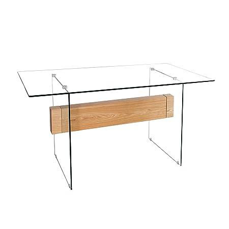 Design Schreibtisch ONYX Glas Eiche furniert 160 cm Tisch Furnierholz Tisch Arbeitszimmer Burotisch