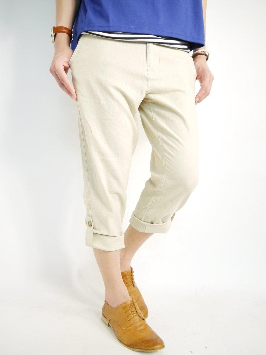(モノマート) MONO-MART 綿麻 リネン クロップドパンツ サルエルパンツ 2way スラッシュポケット ショートパンツ 膝丈 夏 カラー 丈 メンズ