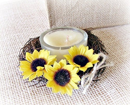 Yellow Sunflower and Twig Candle Ring Wreath Centerpiece