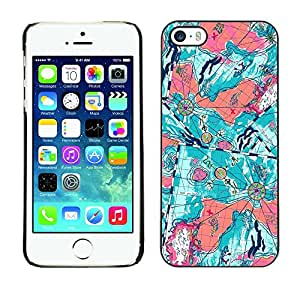 Omega Covers - Snap on Hard Back Case Cover Shell FOR Apple iPhone 5 / 5S - Teal Abstract Floral Purple Painting
