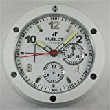 HUBLOT Silent Luminous Sweep Wall Clock, White+White (Color: White)