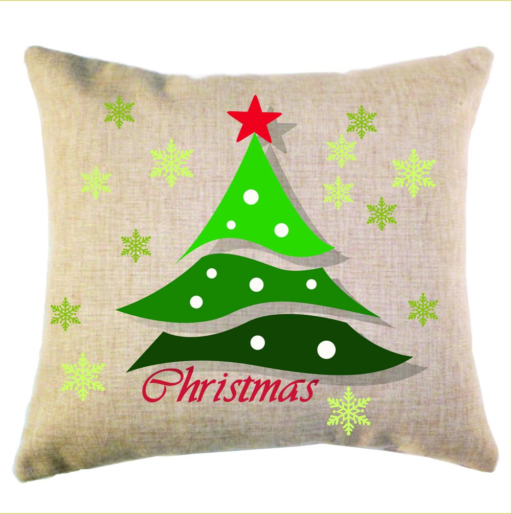 Banner Bonnie Linen Cotton Decorative Personalized Christmas Pillow Case Holiday Cushion Cover merry christmas linen seat cushion pillow case