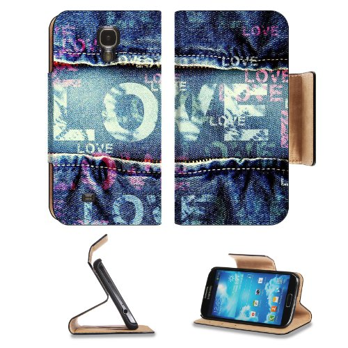 Love Printed on Denim Samsung Galaxy S4 Flip Cover Case with Card Holder Customized Made to Order Support Ready Premium Deluxe Pu Leather 5 inch (140mm) x 3 1/4 inch (80mm) x 9/16 inch (14mm) Liil S IV S 4 Professional Cases Accessories Open Camera Headphone Port I9500 LCD Graphic Background Covers Designed Model Folio Sleeve HD Template Designed Wallpaper Photo Jacket Wifi 16gb 32gb 64gb Luxury Protector Micro SD Wireless Cellphone Cell Phone