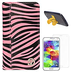 VanGoddy Mary Zebra Print Portfolio Self Stand Book Style Case Cover For Samsung Galaxy S5 G900 (Magenta) + Touch U Silicone Stand + Matte Screen