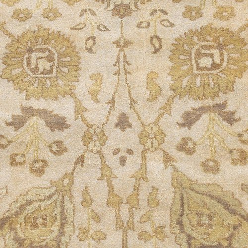 8' x 11' Antolya Thin Pile Classic Hand Knotted Rectangle 100% Semi-Worsted New Zealand Wool Rug Antique White Antique White, Split Pea, Bronze, Dark Goldenrod, Dark Khaki