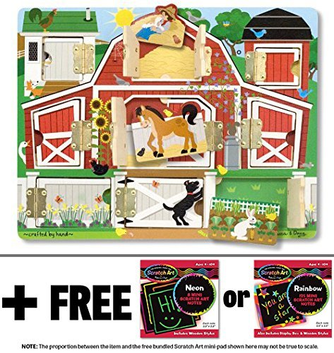 Farm: Hide & Seek Wooden Magnet Activity Board + FREE Melissa & Doug Scratch Art Mini-Pad Bundle [45926]