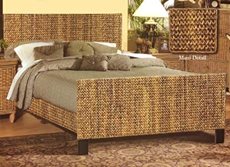 Island Breeze Tropical Natural Indoor Wicker and Rattan Complete Queen Bed by Seawinds Trading