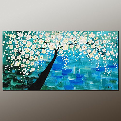 Palette Knife Landscape Tree 8X16 In/20X40Cm Art Living Room Wall Decor Oil Painting On Canvas Modern Art Unframed