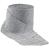 Jollylife Silver Diamond Rhinestone Ribbon Wrap Bulk 30 Feet - Wedding Decorations, Party Supplies