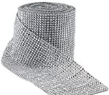 "Silver Diamond Rhinestone Mesh Ribbon, Wedding Ribbon, Diaper Cake Ribbon, 4.75"" x 10 Yards, 24 Row, 1 Roll"