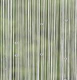 Eng aneinander gereihte Polyesterfäden an durchscheinender Borde zusammengefasst, Fäden dekorativ bestückt mit schimmernden, weißen Perlen,fensterfertig konfektioniert für Stangendurchzug, 100% Polyester
