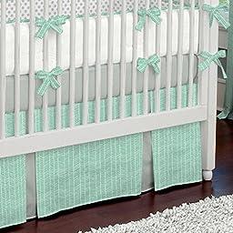 Carousel Designs Mint Herringbone Crib Skirt Two Front Pleats 14-Inch Length
