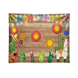 Funnytree 10x8ft Durable Fabric Mexican Fiesta Theme Photography Backdrop No Wrinkles Mexico Cactus Guitar Party Background Cinco de Mayo Flags Paper Flowers Banner Dress up Decoration Photo Booth (Tamaño: 10'x8')