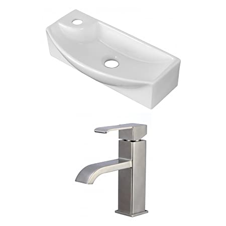 "Jade Bath JB-15279 18"" W x 7"" D Rectangle Vessel Set with Single Hole CUPC Faucet, White"