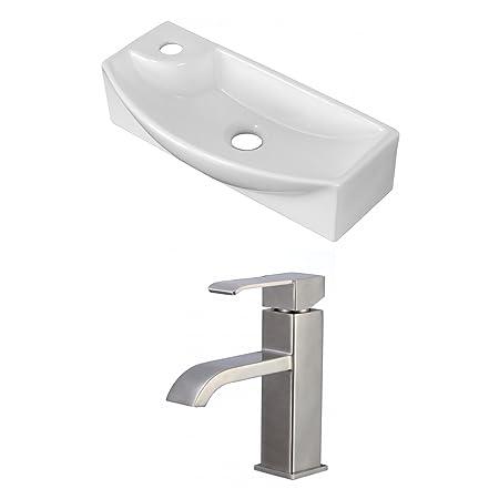 "Jade Bath JB-15279 18"" W x 7"" D Rectangle Vessel Set with Single Hole CUPC Faucet, White"