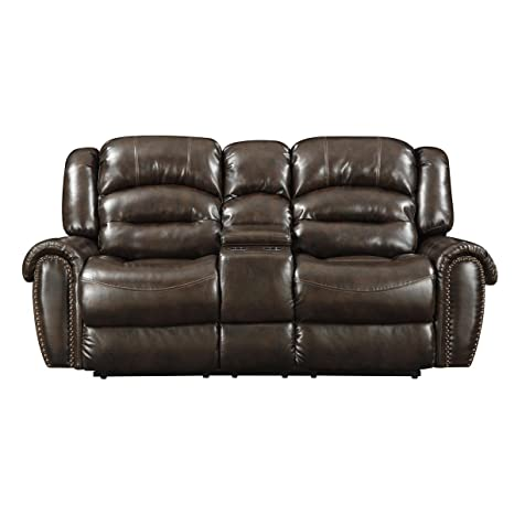 Pulaski Oxford Console Love Seat Darby Chocolate PU