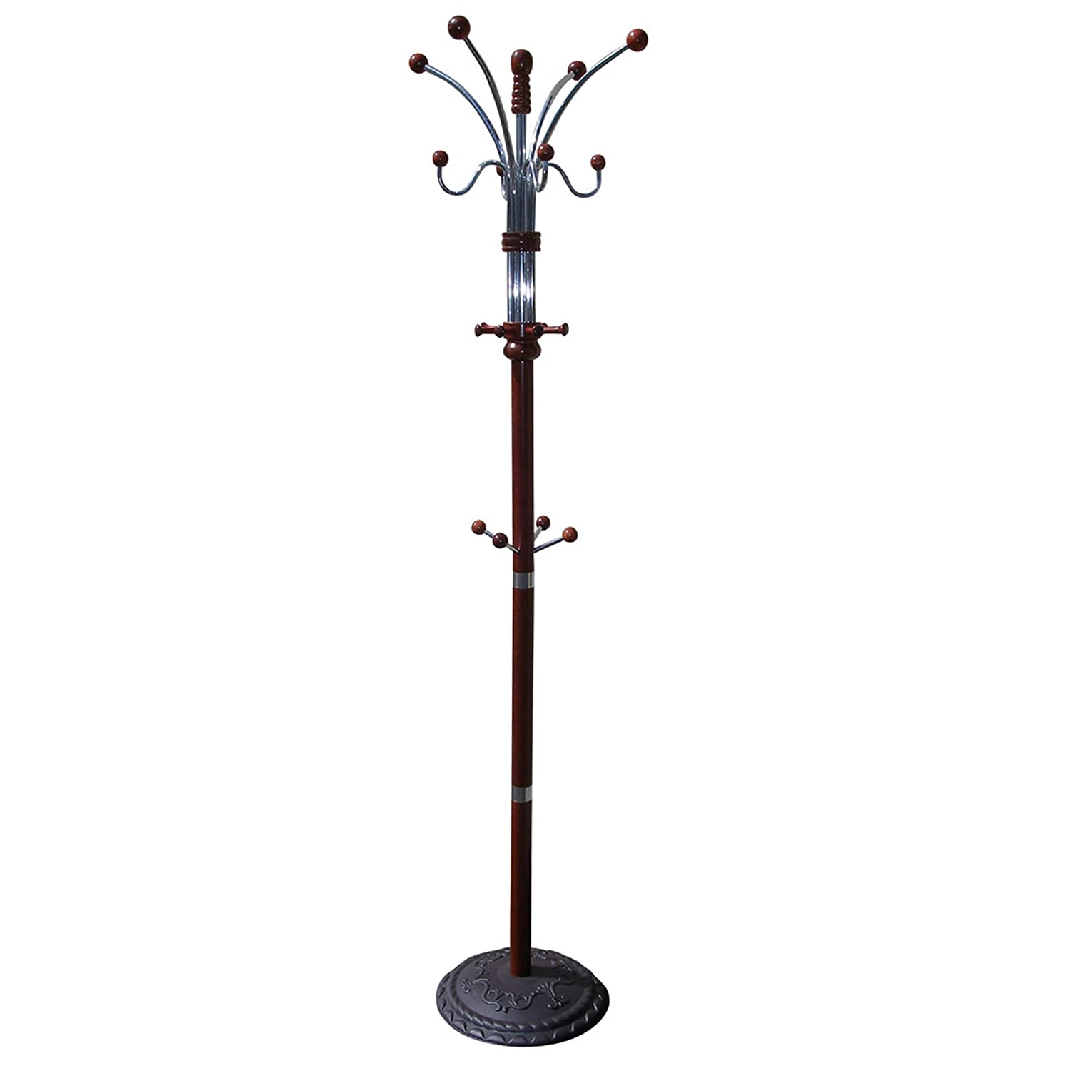 Traditional Wood and Chrome Metal Coat Rack Hall Tree Cherry Finish ...