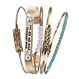 Vintage 5PCS Multi Layer Bracelets Turquoise Triangle Knot Stackable Open Cuff Bracelet Set Bangle Women (Color: Gold)