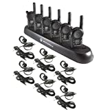 6 Pack of Motorola CLS1110 Walkie Talkie Radios with Headsets & 6-Bank Charger (Color: Black)