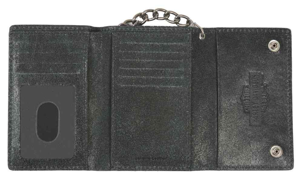 Harley-Davidson Men's Skull Washed Medium Tri-Fold Biker Wallet UN7705L-GRYBLK 1